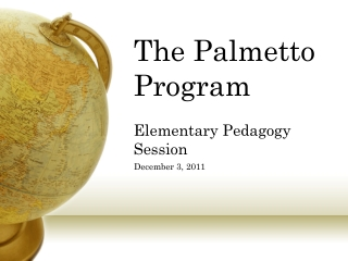 The Palmetto Program Elementary Pedagogy Session