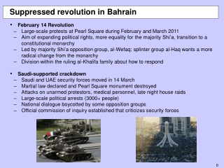 Suppressed revolution in Bahrain