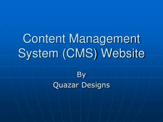 Content Management System (CMS) Website