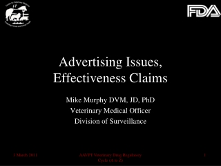 Advertising Issues,  Effectiveness Claims
