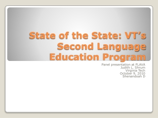 State of the State: VT's Second Language Education Program
