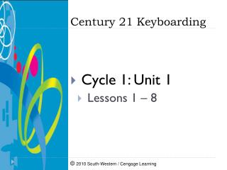 Cycle 1: Unit 1  Lessons  1 – 8