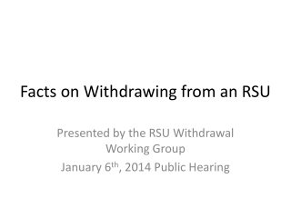 Facts on Withdrawing from an RSU