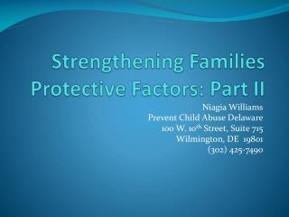 Strengthening Families Protective Factors: Part II