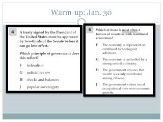 Warm-up: Jan. 30