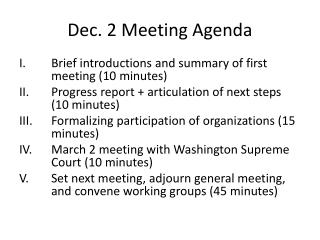 Dec. 2 Meeting Agenda