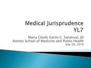 Medical Jurisprudence YL7