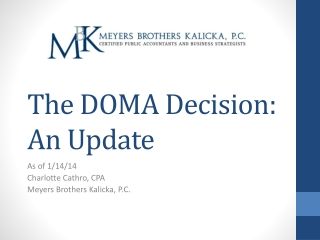 The DOMA Decision: An Update