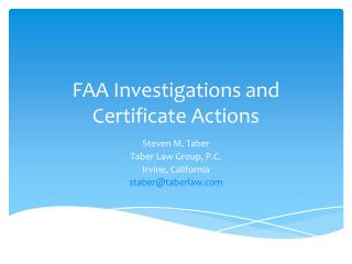 FAA Investigations and Certificate Actions