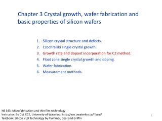 Silicon crystal structure and defects. Czochralski  single crystal growth. Growth rate and dopant incorporation for CZ
