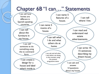"""Chapter 6B """"I can…"""" Statements"""