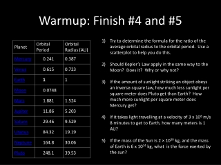 Warmup : Finish #4 and #5