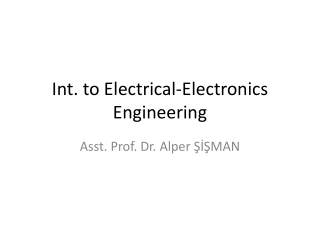 Int. to Electrical-Electronics Engineering