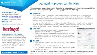WINDOWS AZURE CSV :  b azinga! Technologies WEB SITE :   www.mybazinga.com LOCATION :   Vancouver, Canada ORG SIZE :