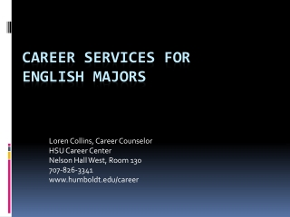 Career  Services  for  English Majors