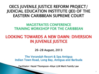 OECS JUVENILE JUSTICE REFORM PROJECT/ JUDICIAL EDUCATION INSTITUTE (JEI) OF THE EASTERN CARIBBEAN SUPREME COURT  MAGIST