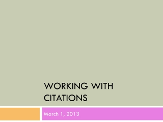 Working with Citations