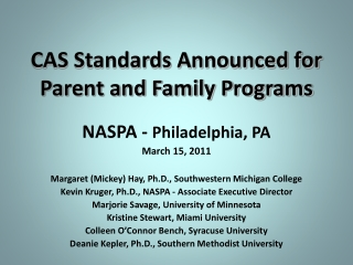 CAS Standards Announced for Parent and Family Programs