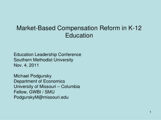 Market-Based Compensation Reform in K-12 Education