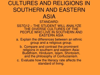 CULTURES AND RELIGIONS IN SOUTHERN AND EASTERN ASIA