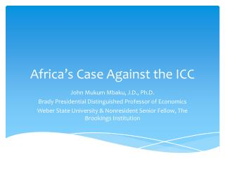 Africa's Case Against the ICC