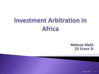 Investment Arbitration in Africa