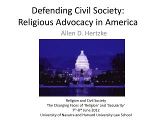 Defending Civil Society: Religious Advocacy in America