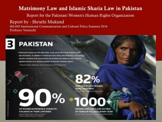 Matrimony Law and Islamic Sharia  Law in Pakistan Report for the  Pakistani  Women's Human Rights  Organization