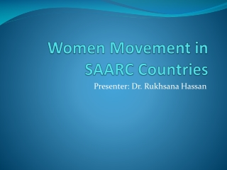 Women Movement in SAARC Countries