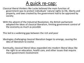 A quick re-cap: