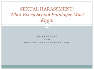 SEXUAL HARASSMENT: What Every School Employee Must Know