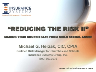 """REDUCING THE RISK II"" MAKING YOUR CHURCH SAFE FROM CHILD SEXUAL ABUSE"