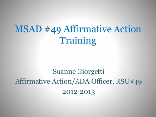 MSAD #49 Affirmative  Action  Training