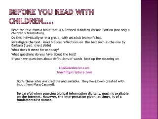 Before you read with children…..