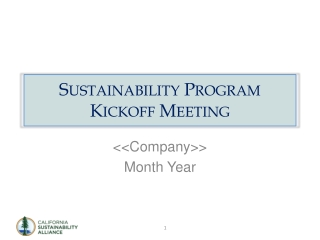 Sustainability Program Kickoff Meeting