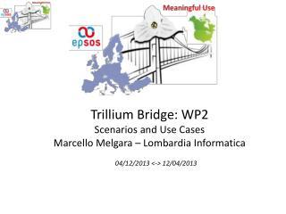 Trillium Bridge: WP2 Scenarios and Use Cases M arcello  M elgara  –  Lombardia Informatica