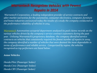 Warrantech Recognizes Vehicles with Fewest Repairs in 2014