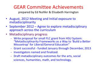 GEAR Committee Achievements prepared by Ed Nuhfer & Elisabeth Harrington