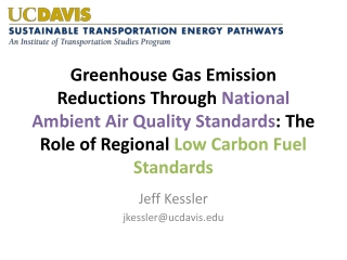 Greenhouse Gas Emission Reductions Through  National Ambient Air Quality Standards : The Role of Regional  Low Carbon F