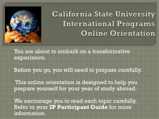 California State University International Programs Online Orientation