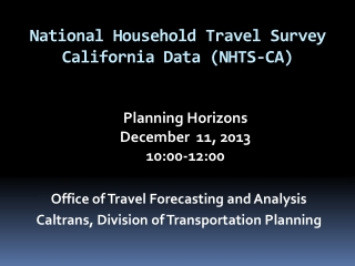 National Household Travel Survey California Data (NHTS-CA)