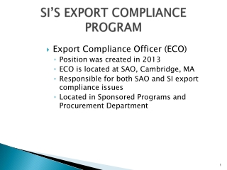 SI'S EXPORT COMPLIANCE PROGRAM