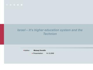 Israel –  It's higher education system and the Technion