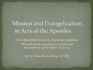 Mission and Evangelization  in Acts of the Apostles