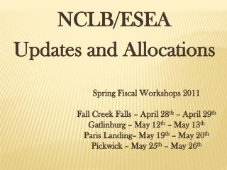 NCLB/ESEA   Updates and Allocations