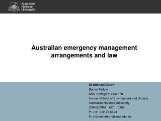 Australian emergency management arrangements and law