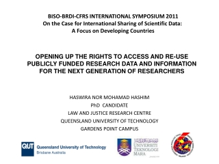 OPENING UP THE RIGHTS TO ACCESS AND RE-USE PUBLICLY FUNDED RESEARCH DATA AND INFORMATION FOR THE NEXT GENERATION OF RES