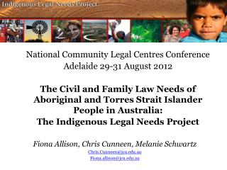 National Community Legal  Centres  Conference Adelaide 29-31 August 2012