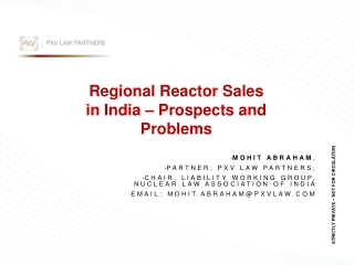 Regional Reactor Sales in India – Prospects and Problems