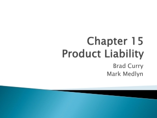 Chapter 15 Product Liability
